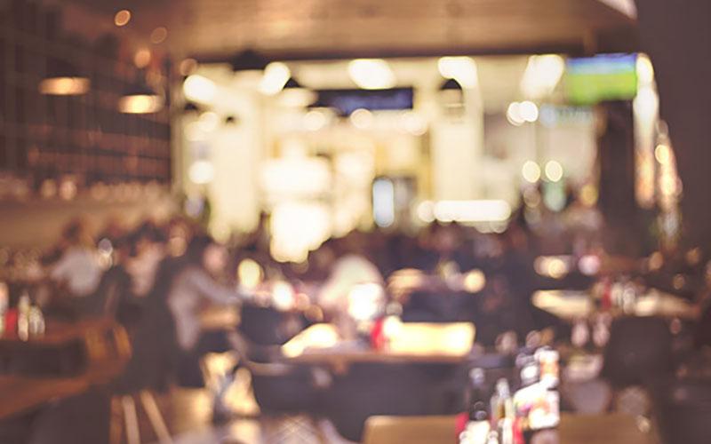 Blurry interior of a restaurant