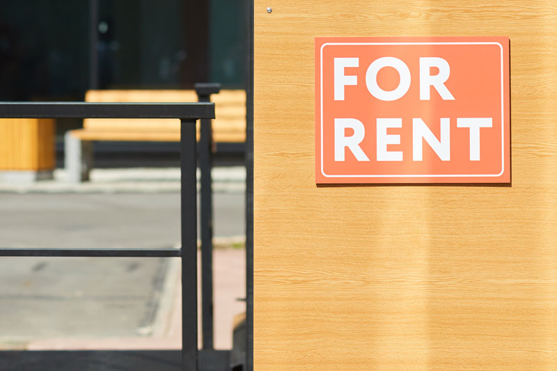 For Rent sign on the front of a building
