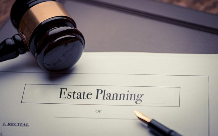 "Document that says ""estate planning"" with a gavel"