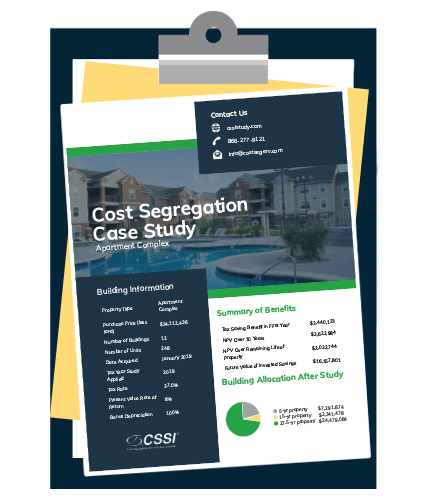 a cost segregation case study for an apartment complex on a clipboard
