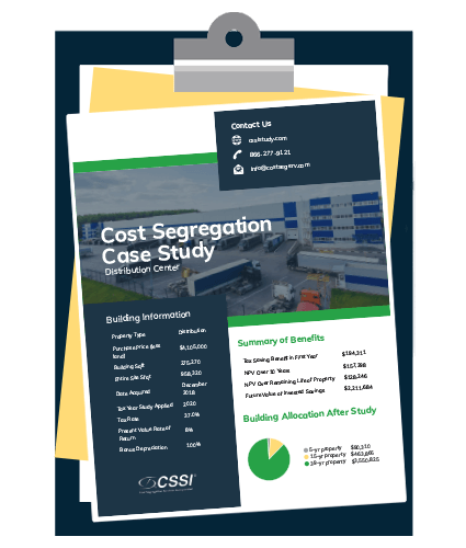 Distribution center cost segregation case study on a clipboard