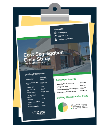cost segregation study case study for fast food restaurant on clipboard