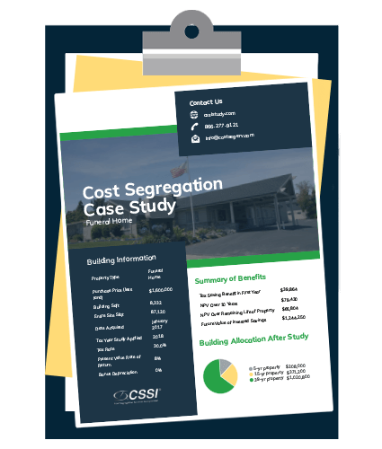 Funeral home cost segregation case study on a clipboard
