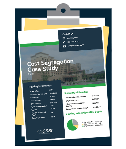 Cost segregation case study for hotel on clipboard