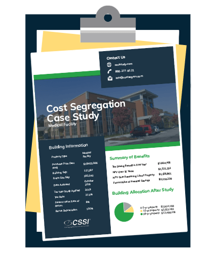 Medical facility cost segregation case study on a clipboard