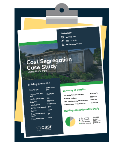Mobile home park cost segregation case study on a clipboard