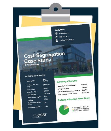 cost segregation case study for office building on a clipboard