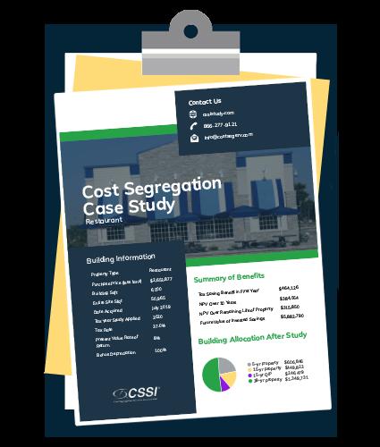 Restaurant cost segregation case study on a clipboard