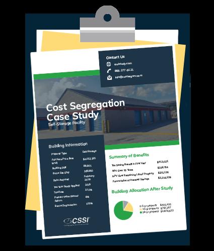 Self storage cost segregation case study on a clipboard